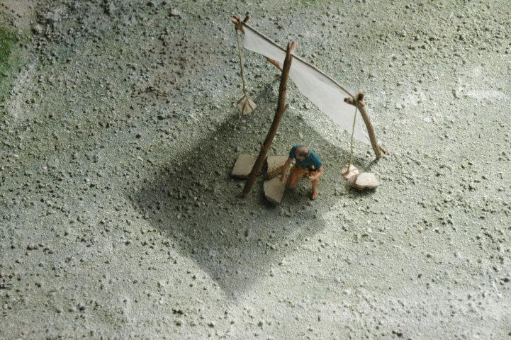Cava storica del Furlo diorama - scalpellino