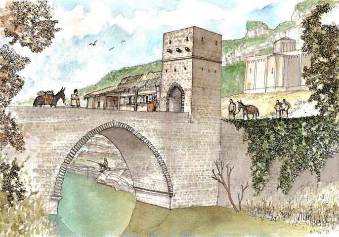 ponte romano sul Sentino - illustrazione