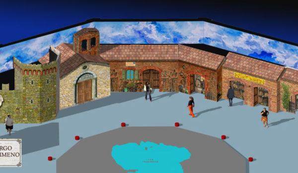 vista scenografia ricostruzione di un borgo
